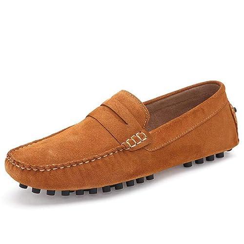 Mocasines para Hombre Zapatos de Conducción de Cuero Genuino y Gamuza Mocasines para Deportivos Zapatos sin Cordones Resbalón Ocasional Zapatos Náuticos: ...