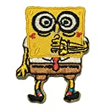 Spongebob Patch Applique Embroidered Sew Iron On Patch - Clothing Shirts Pants Novelty Iron on with heat or sew on - Decorate Bags Caps Towels - Safe Non-toxic - 100%