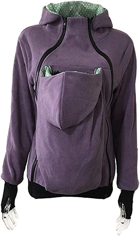 80d80dc092964 Women Kangaroo Loose Hooded Sweater Coat Pregnant Baby Sweatshirt Maternity  Polar Fleece Jacket (M, Mint Green) at Amazon Women's Clothing store:
