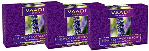 Lavender Soap with Rosemary Oil – Handmade Herbal Soap with 100% Pure Essential Oils – ALL Natural – Skin Regeneration Therapy – Vaadi Herbals (Pack o…