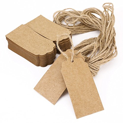 Printable Tags Hang Tag Kraft Paper Favor Tags Heart Shaped with 10M Rope, 45*90mm - 100pcs (Brown) (Kraft Paper Hang Tags)
