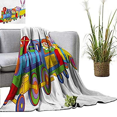 """Nursery Warm Blanket Clown Cat and Bunny Sitting in The Train Kids Toys Cartoon Style Funny Cheerful All Season for Couch or Bed 40"""" Wx60 L Multicolor"""