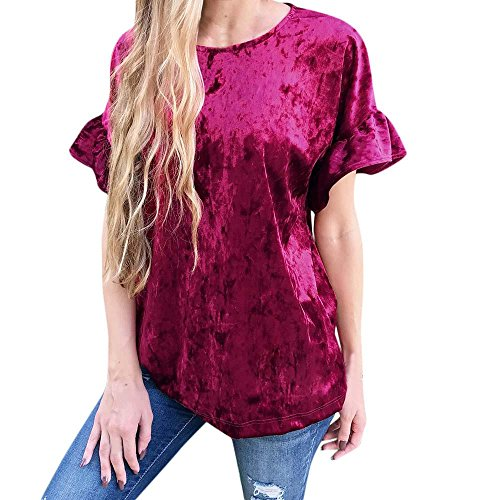 Big Promotion! Women Shirts WEUIE Womens Short Sleeve Speaker Sleeve Tops Ladies Velvet Blouse T Shirt (XL, Wine) (Silk Velvet Blouse)