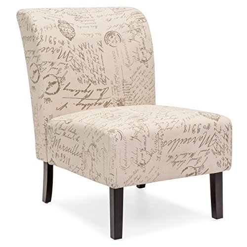 Best Choice Products Modern Contemporary Upholstered Armless Accent Chair (Brown/White) (Fashioned Styles Chair Old)
