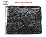 vietnamcreations  RFID Blocking Genuine Alligator / Crocodile Leather Handmade Bifold Wallet for Men medium 2# Black Crocodile / Alligator Wallet 5.12'' Closed Length X 4'' Width