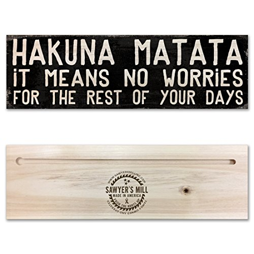 Hanging Blocks (Hakuna Matata | 4-inch by 12-inch | Wooden Block Sign featuring Positive, Uplifting Quote)