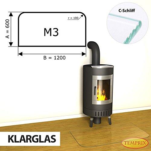 Kaminbodenplatte Funkenschutz ESG Glas Klarglas verschiedene Formen Kamin M3 - 600 x 1.200 x 6 mm