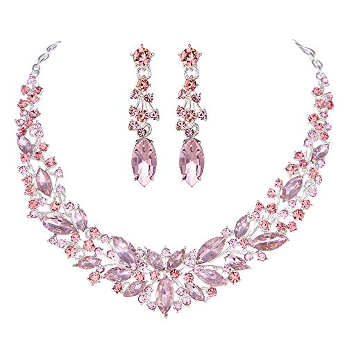 Youfir Austrian Crystal Rhinestone Bridal Wedding Necklace and Earrings Jewelry Sets for Women (Pink)