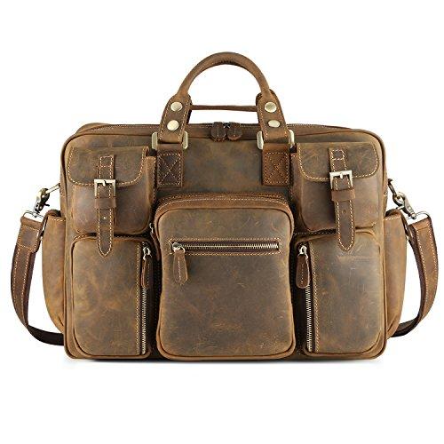 Kattee Men's Crazy-horse Leather Briefcase Luggage Handbag Shoulder Bag, Fit 16.5'' Laptop by Kattee (Image #2)