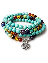 Jewelry,8MM Turquoise Healing 108 Rosary Prayer Mala Beads Tree of Life 7 Chakra Bracelet Necklace