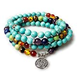 Jewelry,8MM Turquoise Healing 108 Buddhist Prayer Mala Beads Tree of Life 7 Chakra Bracelet Necklace
