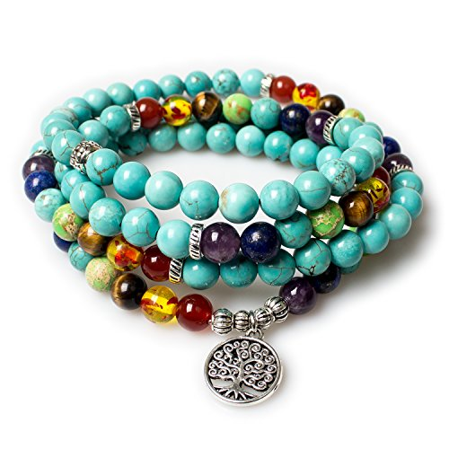 Turquoise,Mala Beads Tree of Life 7 Chakra Tibetan Prayer Beads Healing Gemstone Yoga Necklace Bracelet(Turquoise,Tree) ()
