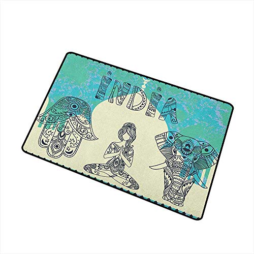Wang Hai Chuan Yoga Inlet Outdoor Door mat Ethnic Elephant Hamsa Hand Woman Doing Yoga Ornaments Taj Mahal Silhouette Catch dust Snow and mud W19.7 x L31.5 Inch Jade Green Cream Black