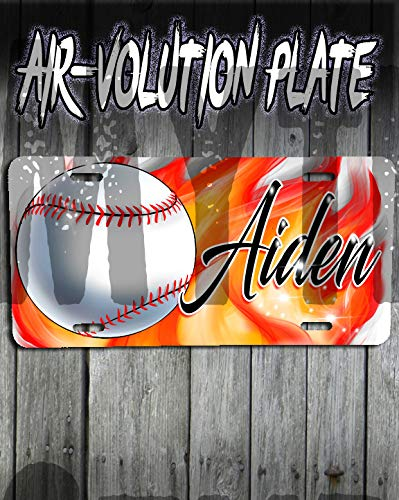 Personalized Airbrushed Baseball License Plate Tag