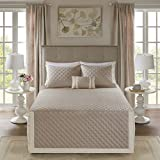 Madison Park Breanna 4 Piece Tailored Bedspread Set Khaki Full/Queen