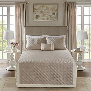 Madison Park Breanna 4 Piece Cotton Reversible Tailored Bedspread Set Khaki King/Cal King