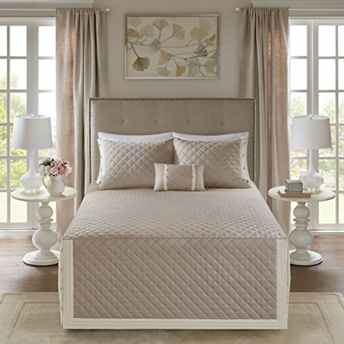 Madison Park Breanna 4 Piece Cotton Reversible Trailored Quilt Set Coverlet Bedding, King/Cal King Size, Khaki