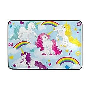 ALAZA Hipster Rainbow Unicorn Cloud Felpudo Alfombrilla de interior al aire libre Entrada Suelo baño 23,6x 15,7pulgadas
