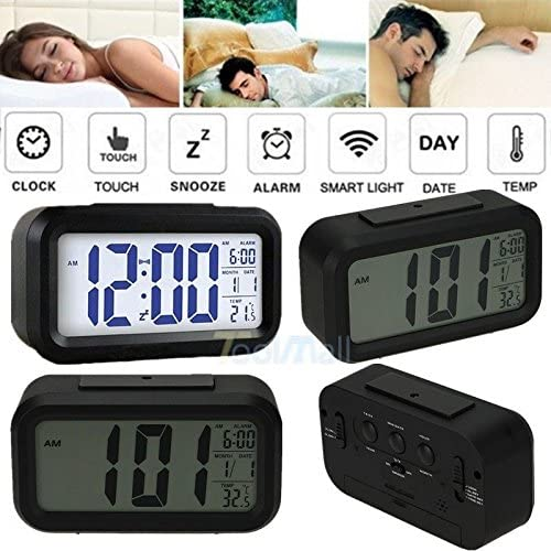 Digital Alarm LED Clock Light Control Backlight Time Calendar Thermometer snooze