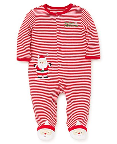 (Little Me Baby Boys Footie and Hat, Santa Christmas red/White, 6 Months)