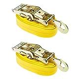2-Pack Auto Hauler 16'' Tire Wheel Bonnet Cam Adjustable Tie-Down Strap