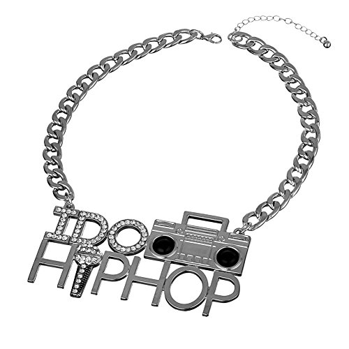Dj Halloween Costume (Punk Style I DO HIP HOP Tape Recorder Microphone Necklace for Costume Party Rhinestone Alloy Heavy Chunky DJ Jewelry (Silver Tone))
