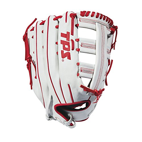 Louisville Slugger 2018 TPS Slowpitch Softball Glove - Right Hand Throw White/Red, 13.5