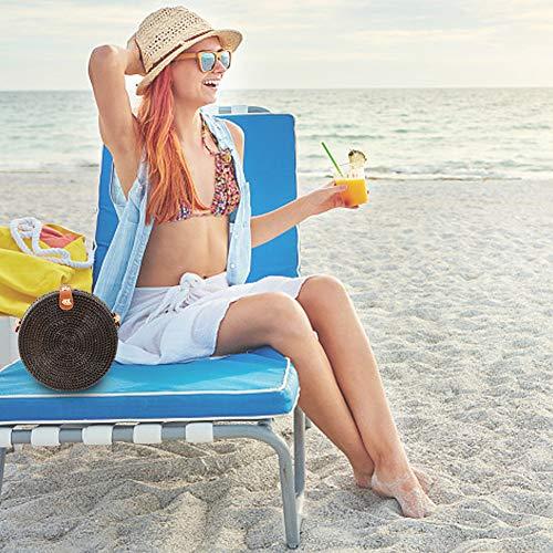De Tressé Pique Jeune Tissée Pour Main La Femmes Bandoulière Ronde Gaeruite Les c En Noir Sac Beach À Rotin Summer Fille Paille nique nqwUWTYS