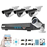 Home Surveillance Camera System 4 Channel AHD 720P 1TB Security DVR with 4 1.3MP CCTV Cameras, Remote View Weatherproof Video Security Surveillance System