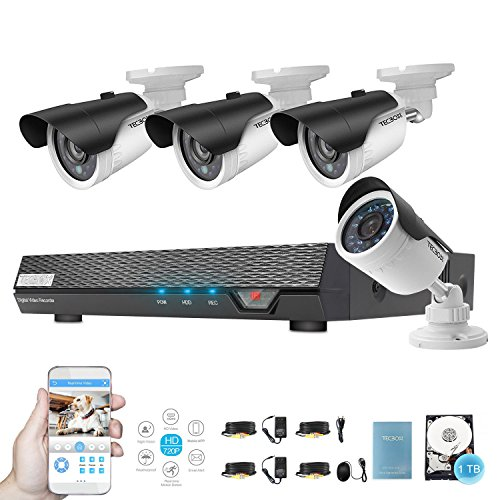 Home Surveillance Camera System 4 Channel AHD 720P 1TB Security DVR with 4 1.3MP CCTV Cameras, Remote View Weatherproof Video Security Surveillance System by TECBOX