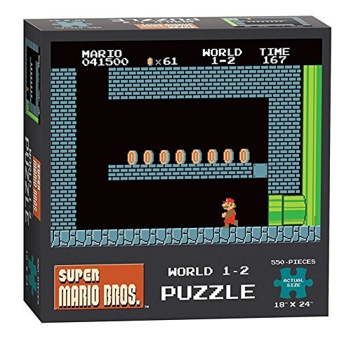 Nintendo Super Mario Bros. NES World 1-2 550-piece Nostalgic Retro 1980s Video Game Themed Jigsaw Puzzle For Collectors. Exclusive Item. Made by USAopoly. Made In The USA.