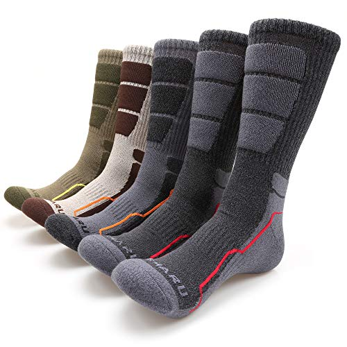 MIRMARU Men's 5 Pairs Hiking Outdoor Trail Running Trekking Moisture Wicking Cushion Crew Socks