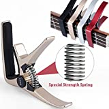 Professional Ukulele Capo, Colorful Creative Mini Size Trigger Style Uke Capo, Quick Change, Total Metal Material, Quality Steel Spring (Golden)