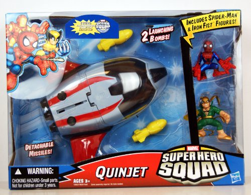 - Marvel Superhero Squad Battle Vehicle - Quinjet With Spider-Man And Iron Fist