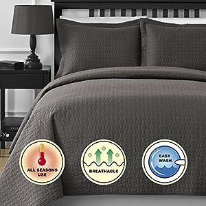 Comfy Bedding Frame Jacquard Microfiber 5-Piece Comforter Set (Queen, Gray)