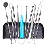 Tenozek 7 PCS Dental Tools, 2 PCS Lighted Tonsil Stone Remover, Stainless Steel Dental Hygiene Kit, Dental Pick,Tooth Scraper Plaque Tartar Remover, Teeth Cleaning Tools for Oral Care&Pet Use (Blue)