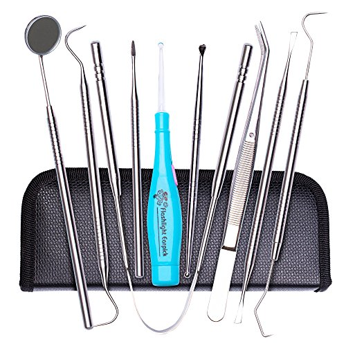 Care Dental Kit (Tenozek 7 PCS Dental Tools, 2 PCS Lighted Tonsil Stone Remover, Stainless Steel Dental Hygiene Kit, Dental Pick,Tooth Scraper Plaque Tartar Remover, Teeth Cleaning Tools for Oral Care&Pet Use (Blue))