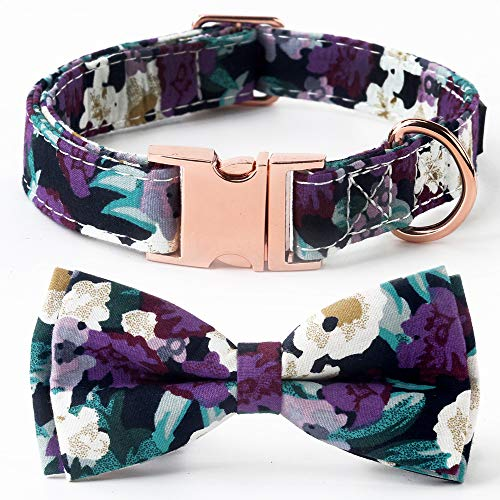 SuperBuddy Bell Cat and Dog Collar with Bowtie – Cute Plaid Bowtie,Soft and Comfortable,Adjustable Bowtie Collar for Small/Medium/Large Dogs