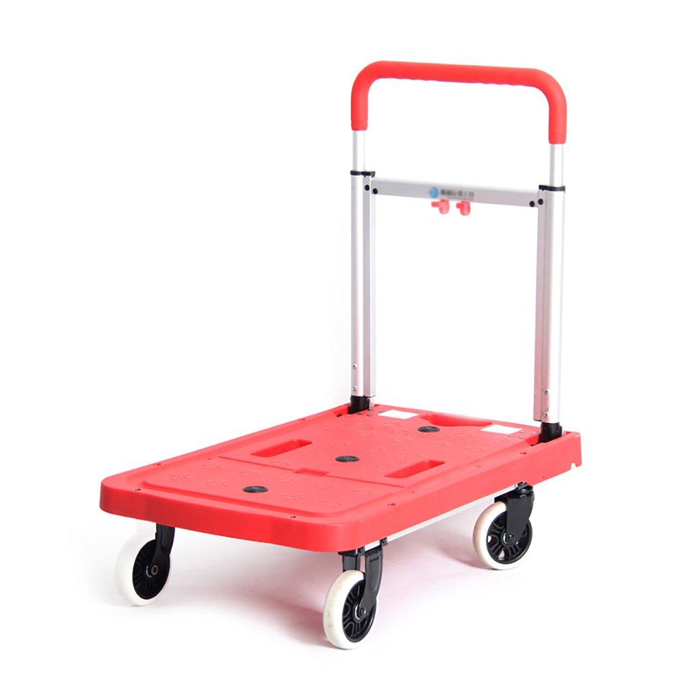 トラック フラットベッドトラック折り畳み式家庭用オンボードバンアルミ合金トラベル荷物カート4ラウンド小物カート作業用トロリー (色 : Red)  Red B07CVHFJ3K