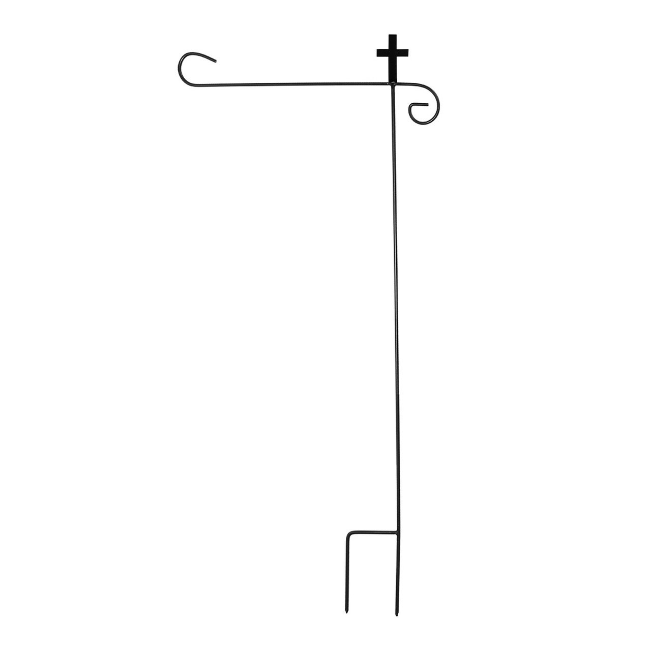 Briarwood Lane Wrought Iron Cross Garden Flag Stand 40'' H