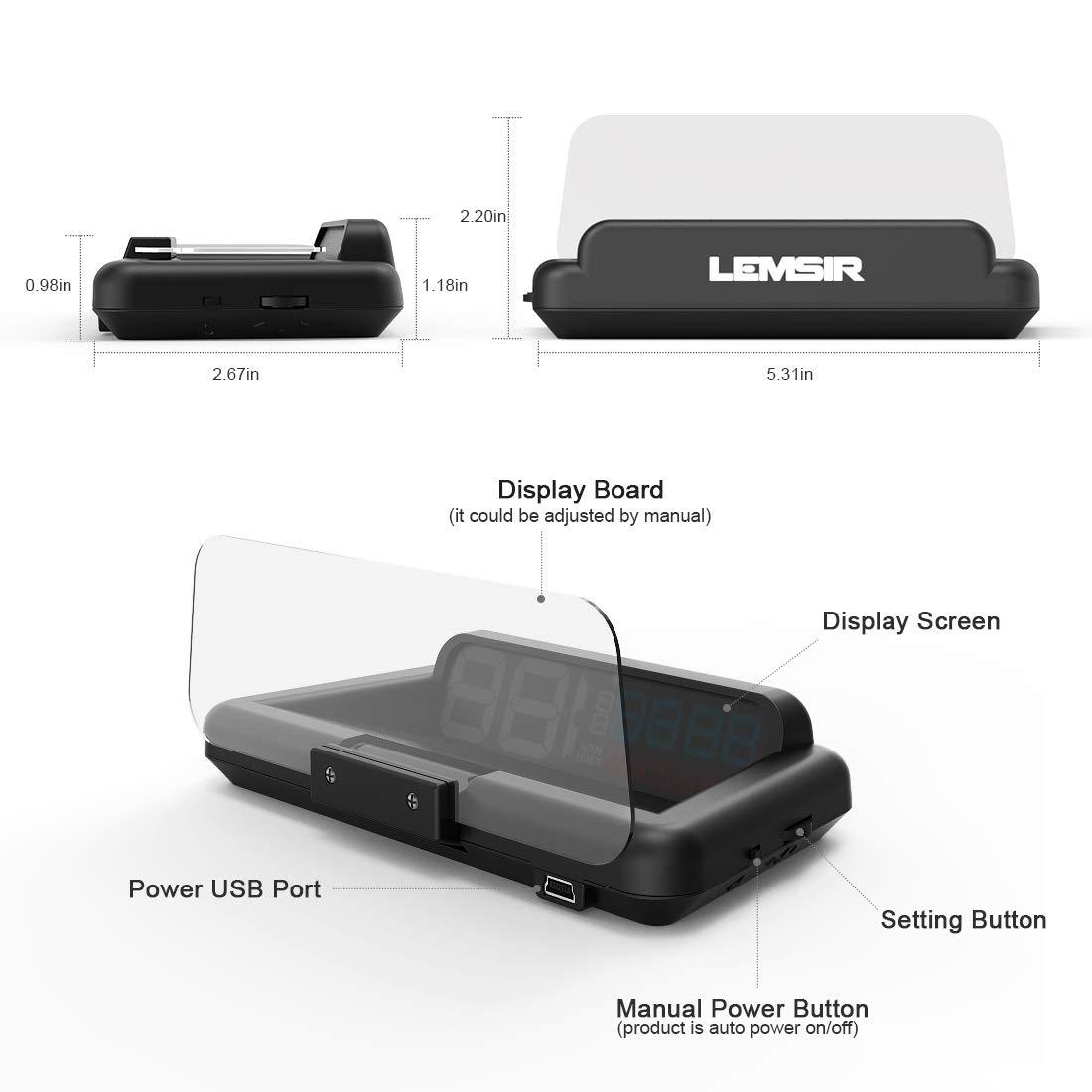 Head-Up Display, LEMSIR Car HUD Speedometer OBD II/EUOBD Interface with Foldable Display Board, Digital HD LED Projector Display Speed MPH Driving Reminder Alarm Light Sensor by LEMSIR (Image #8)