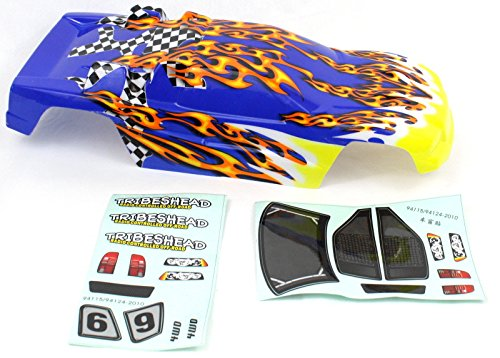 RC Truggy Body Yellow, orange flames and blue for Tsunamis 1/10 Scale scale 41101 ()