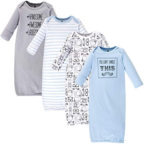 Hudson Baby Unisex Baby Cotton Gowns, Mustache 4-Pack, 0-6 Months ()