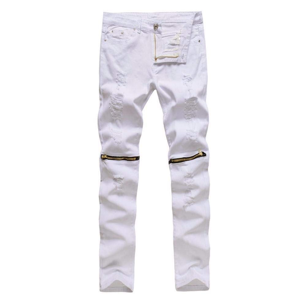 Realdo Hot!Clearance Sale, Casual Solid Skinny Ripped Jeans Destroyed Zipper Slim Fit Pants Daily(36,White)