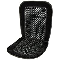 Deluxe Wooden Beaded Bead Black Massaging Seat Cover