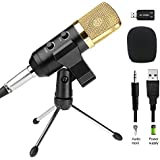 Professional Recording Microphone, Mictech 3.5MM Plug & Play Condenser Microphone For PC/Computer(Windows,Mac,Linux OX),Podcasting,Recording-Black