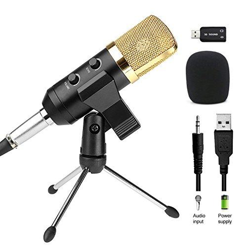 Amytech Kondensatormikrofon USB Plug & Play Mikrofon für Computer (Windows, Mac, Linux OS), Podcasting, Aufnahme