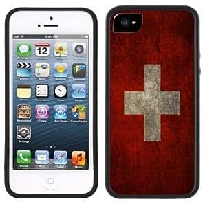 Switzerland Flag Handmade iPhone 5 5S Black Bumper Plastic Case