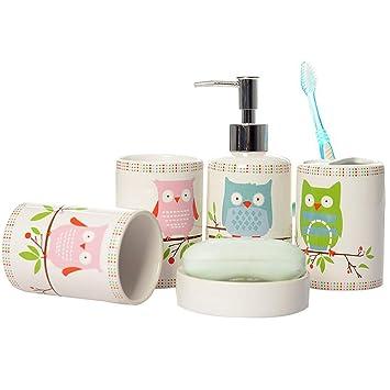 Kids Bathroom Accessories Sets.Brandream 5 Piece Kids Bathroom Sets Owl Bathroom Accessories Set Ceramic