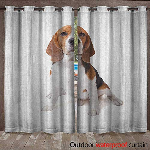 BlountDecor Beagle Outdoor Curtain Panel for Patio Beagle Dog Posing Loving Puppy Furry Friend Companion Domestic AnimalW120 x L96 Cinnamon Black White